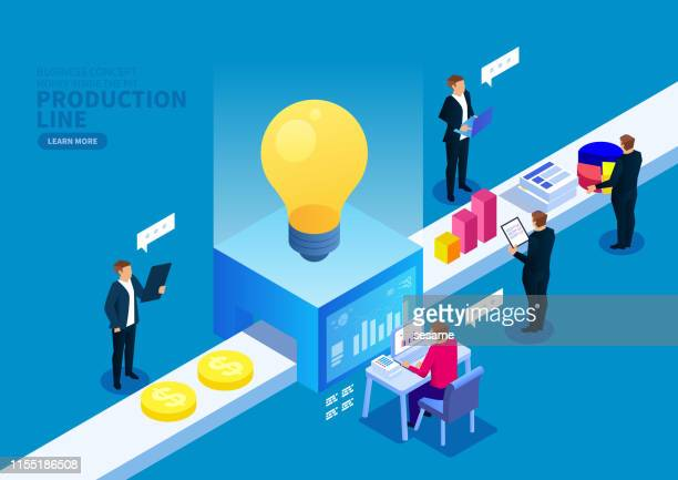creative production line - ideas stock illustrations