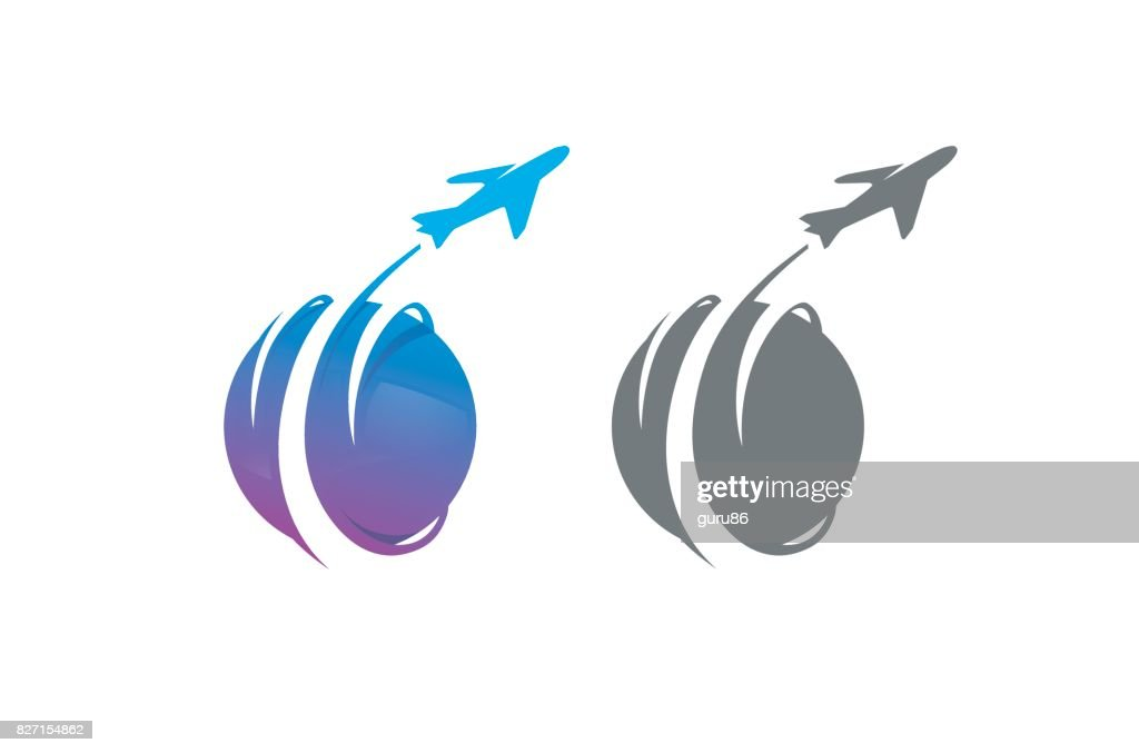 Creative Purple Smoke Aerobatics Circle Airplane Symbol Design