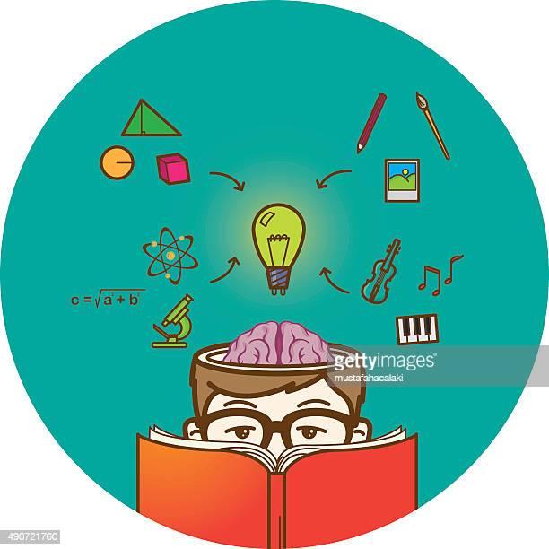 creative reading boy with open brain - cerebral hemisphere stock illustrations, clip art, cartoons, & icons