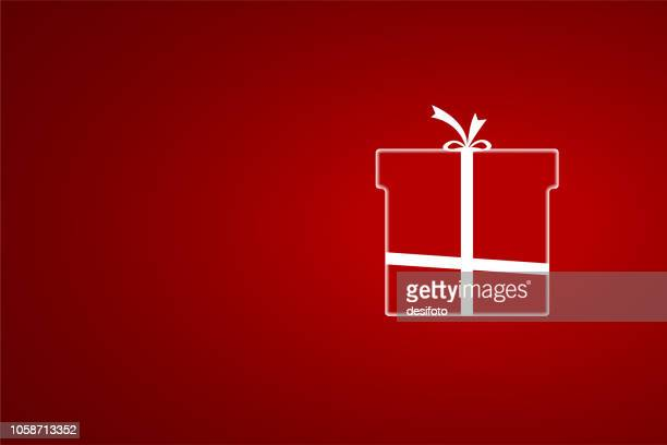 A creative red merry christmas wrapped gift box design - vector Illustration