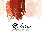 Creative red orange brush strokes glitter elements. Contrast shining sparkle simple design.  Modern background for advertising, wedding, invitation, web, banner, card, pattern, wallpaper. Vector.