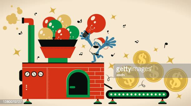 creative santa claus is working hard making money with best ideas in a manufactory - christmas cash stock illustrations