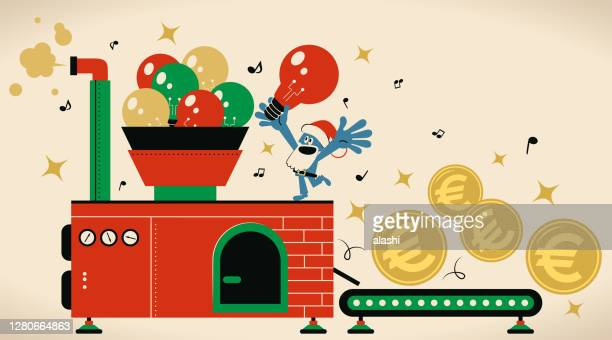 creative santa claus is working hard making money (european union currency, euro sign coin) with best ideas in a manufactory - christmas cash stock illustrations