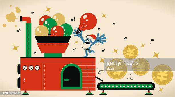 creative santa claus is working hard making money (yuan or yen sign coin, chinese or taiwanese or japanese currency) with best ideas in a manufactory - christmas cash stock illustrations