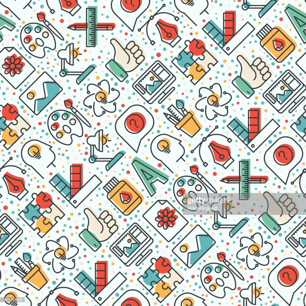 Creative seamless pattern with thin line icons of idea, puzzle, color palette, brushes, creative vision, development design. Vector illustration for banner, web page, print media.