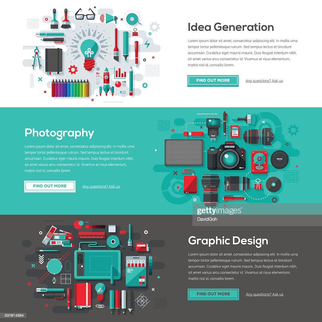 Creative Services Web Banner Set : stock illustration