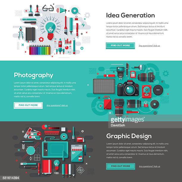 creative services web banner set - photographic stock illustrations
