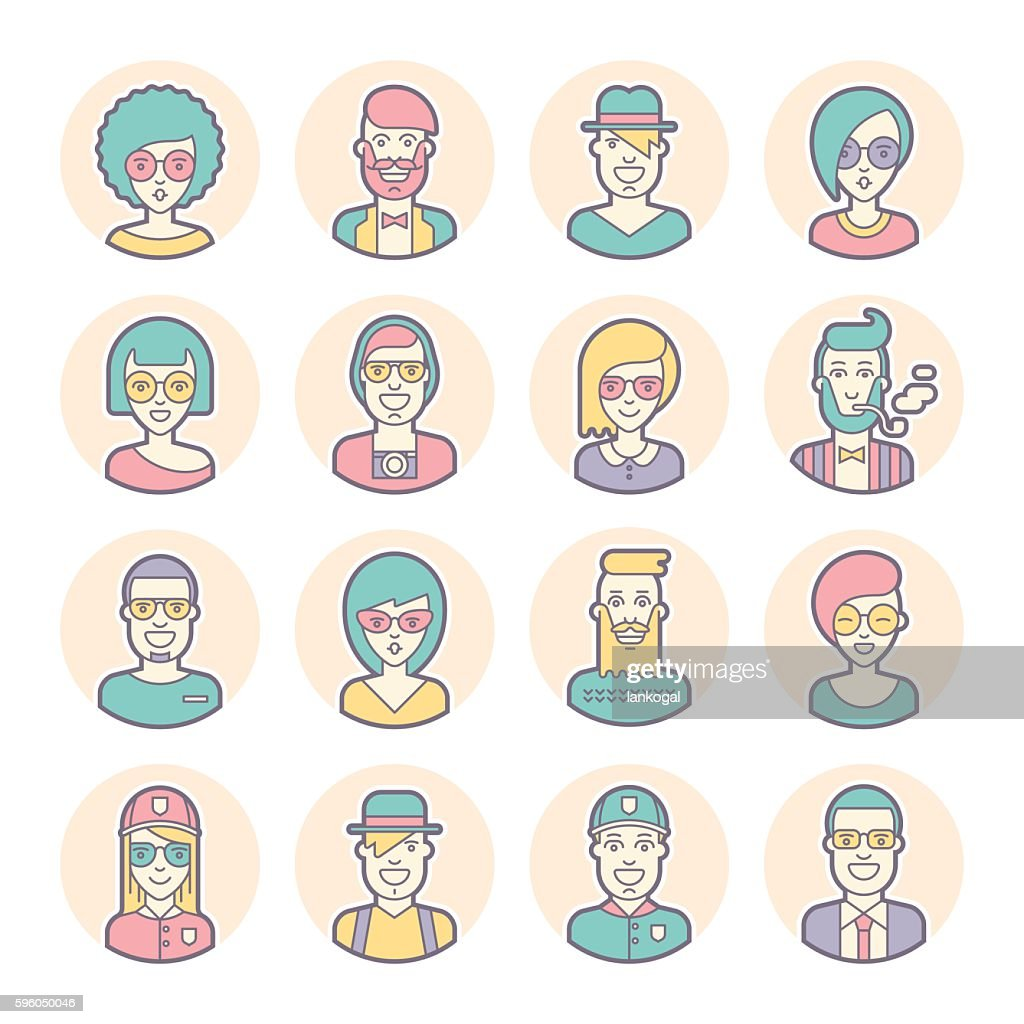 Creative set of round avatars. Thin lines. Vector.