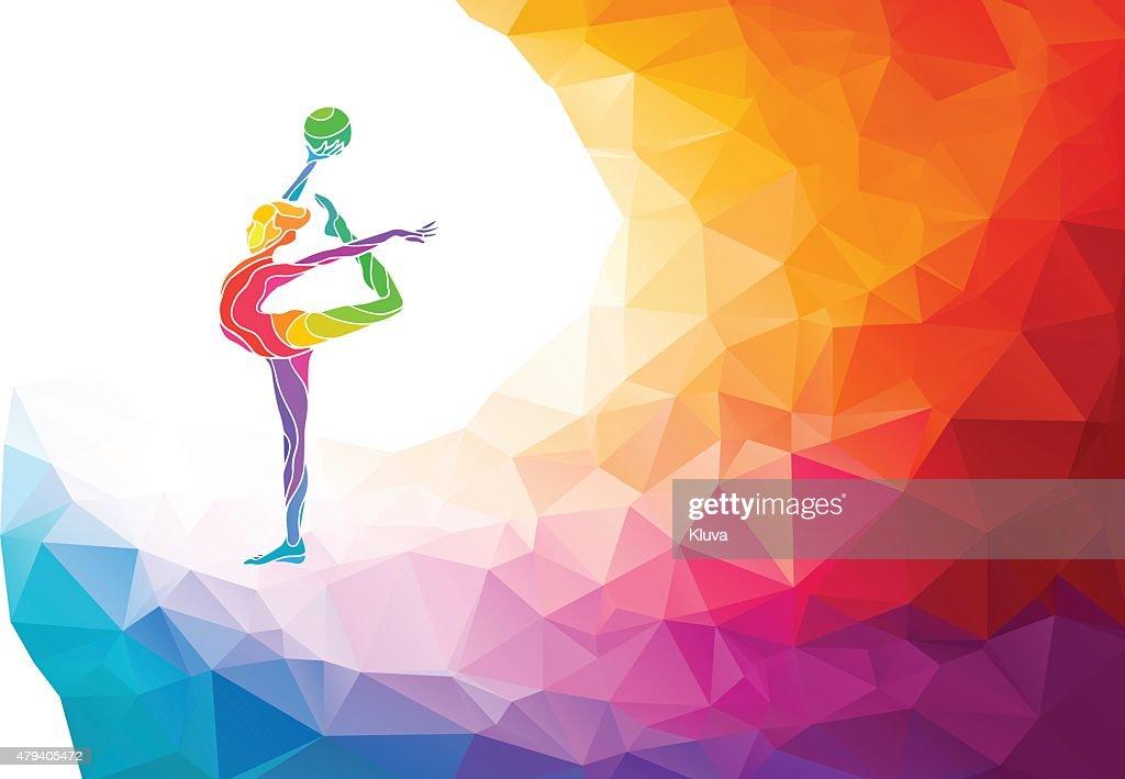 Creative silhouette of gymnastic girl. Art gymnastics with ball,