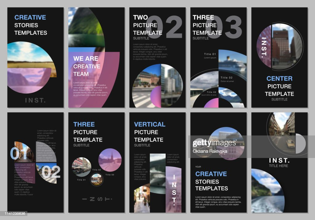 Creative social networks stories design, vertical banner or flyer templates with with circle elements, round shapes. Covers design templates for flyer, leaflet, brochure, presentation, advertising.