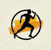 Creative Sport Running Motivation Sign On Grunge Motivation Background. Vector Banner Concept.