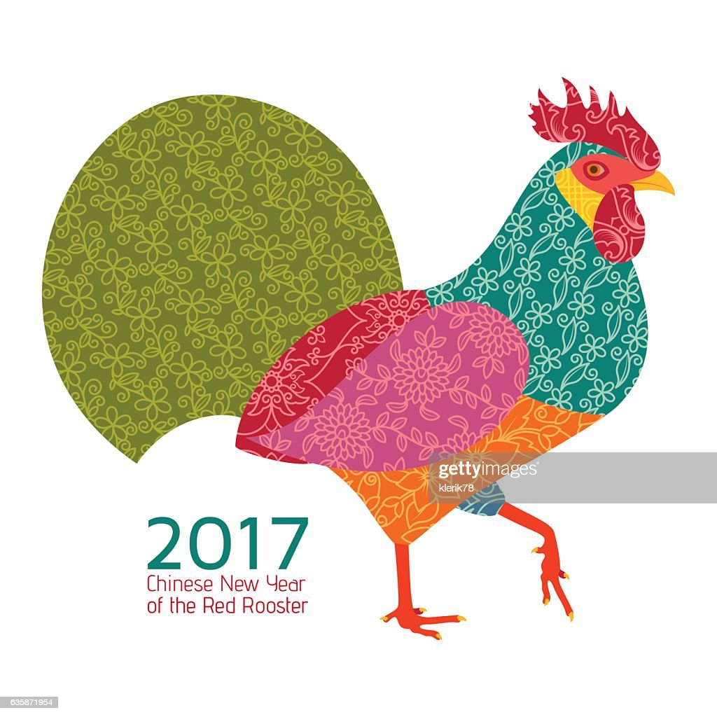 Creative stylized rooster in patchwork style