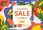 Creative summer promotion social media web banner. Artistic bright season sale and discount promo background with fun party pattern. Email ad newsletter layout.
