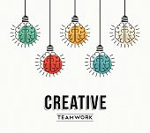 Creative teamwork concept design with human brains