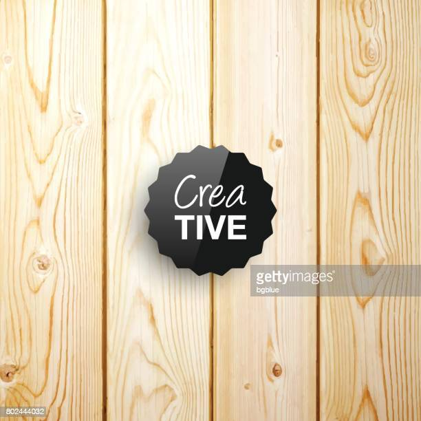 creative template on wooden background - pine wood material stock illustrations, clip art, cartoons, & icons