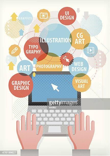 illustrations, cliparts, dessins animés et icônes de création de conditions sur un ordinateur portable - graphiste