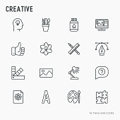 Creative thin line icons set: idea, puzzle, color palette, brushes, creative vision, development design. Vector illustration.