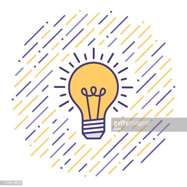 creative thinking‎ flat line icon illustration - light bulb stock illustrations