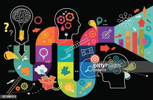 illustrazioni stock, clip art, cartoni animati e icone di tendenza di pensiero creativo - saggezza