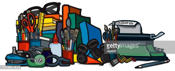 creative tools in studio: still life banner - publisher stock illustrations
