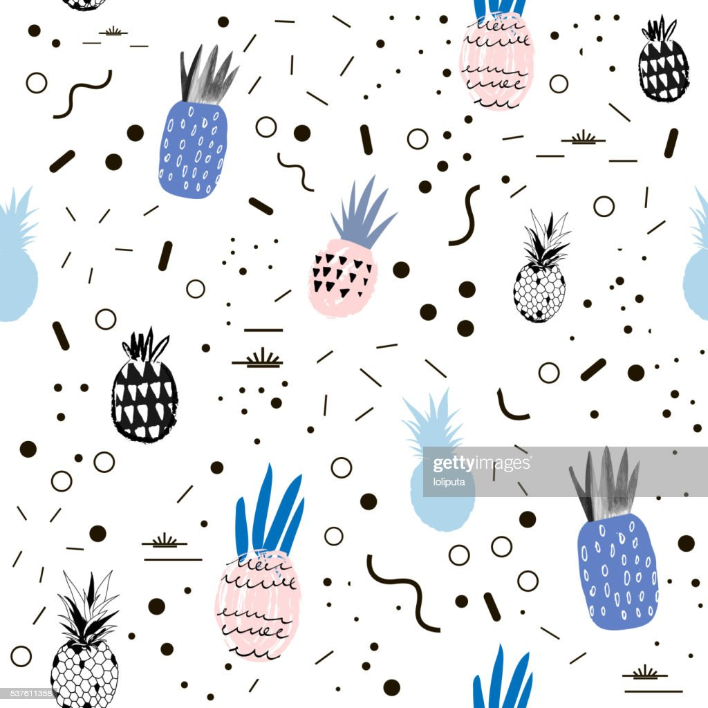Creative trendy seamless pattern with pineapples.