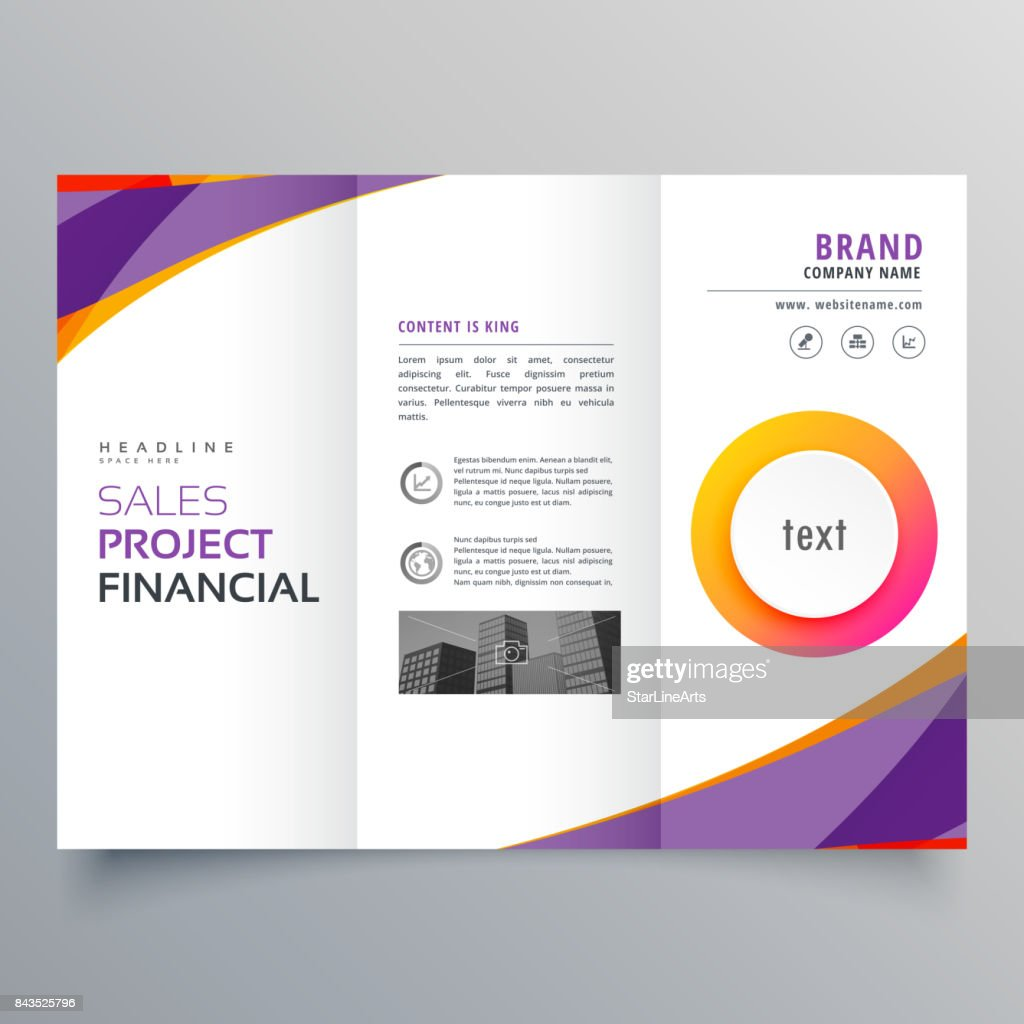 creative trifold brochure template with purple and orange wave shapes