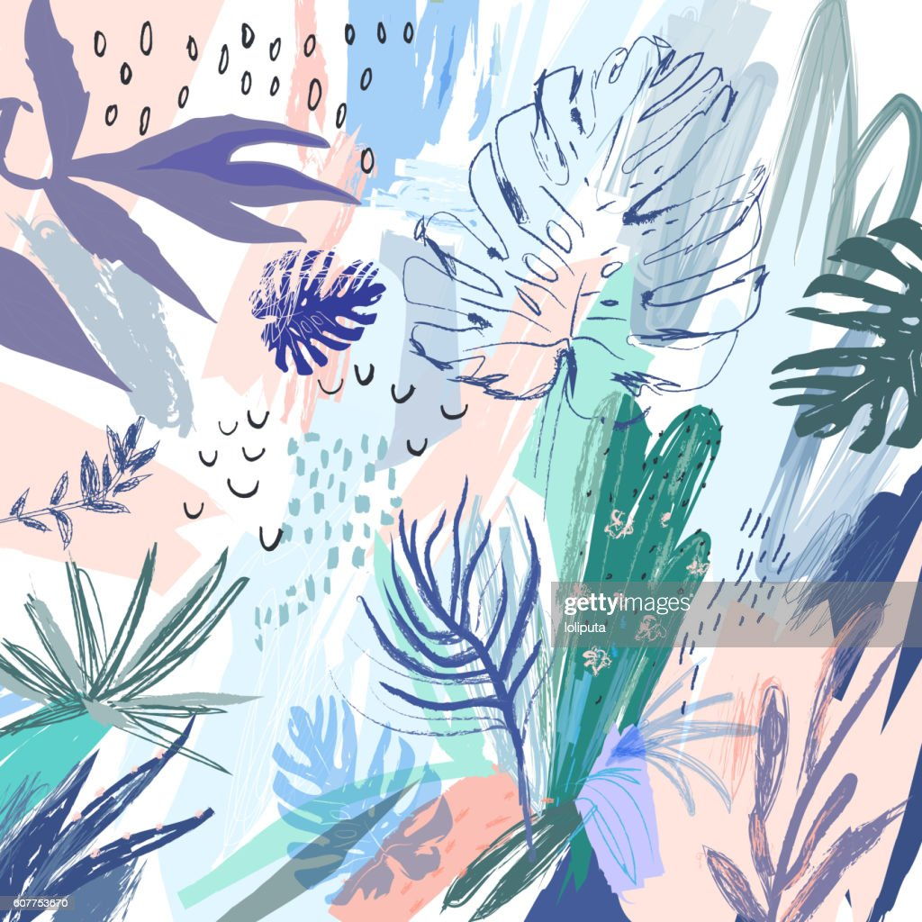 Creative universal floral background in tropical style.
