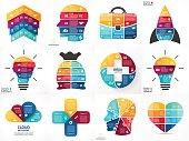 Creative vector arrows infographics, diagrams, graphs, charts. 3, 4, 5