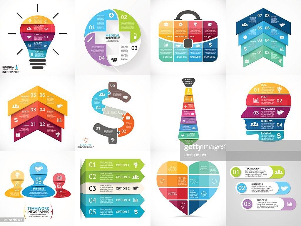 Creative vector arrows infographics set, diagrams, graphs, charts. 3, 4