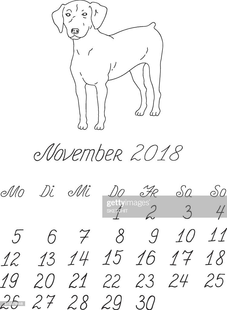 creative vector freehand drawn doodle monthly german calendar template for year 2018 with illustration of different dogs pedigrees lettering typeface