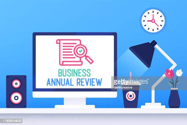 creative vector illustration for business annual review - annual event stock illustrations