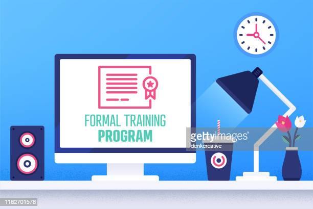 creative vector illustration for formal training program - holding up sign stock illustrations