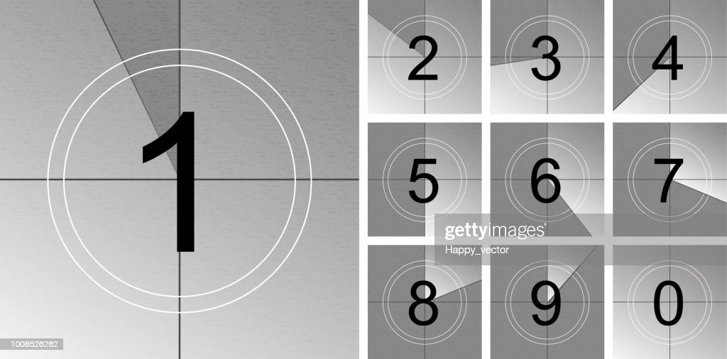 Creative vector illustration of countdown frame. Art design. Old film movie timer count. Vintage retro cinema. Abstract concept graphic element. Universal leader. Number one - 1
