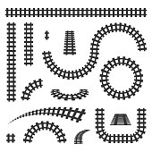 Creative vector illustration of curved railroad isolated on background. Straight tracks art design. Own railway siding. Transportation rail road. Abstract concept graphic element