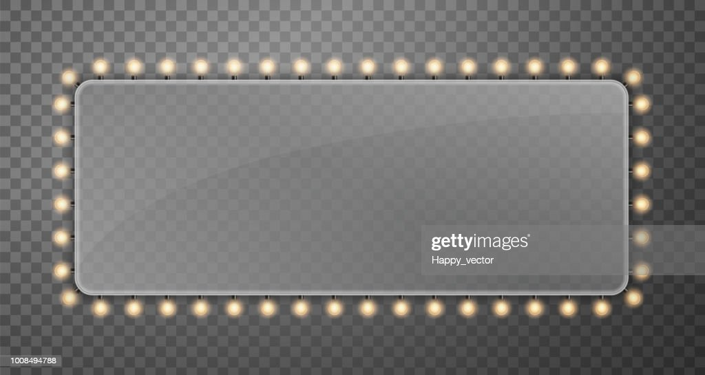 Creative vector illustration of illuminated realistic shine string bulbs banner isolated on transparent background. Art design glowing billboard hollywood lights. Abstract concept graphic element