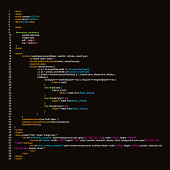 Creative vector illustration of programming HTML code on computer screen isolated on background. Art design website digital page. Program listing view. Abstract concept graphic technology element