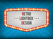 Creative vector illustration of retro light bulb frame set isolated on transparent background. Art design shiny banner decoration curtains. Abstract concept graphic theatre billboard element