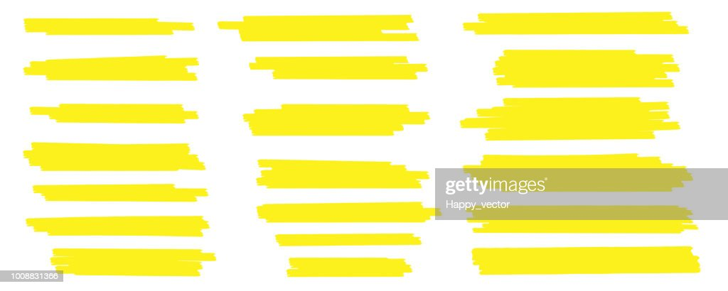 Creative vector illustration of stain strokes, hand drawn yellow highlight japan marker lines, brushes stripes isolated on transparent background. Art design. Abstract concept graphic stylish element
