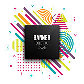 Creative vector illustration of trendy geometric flat banner frame isolated on background. Art design for brochure, cover, template, decorated, flyer, presentations. Abstract concept graphic element