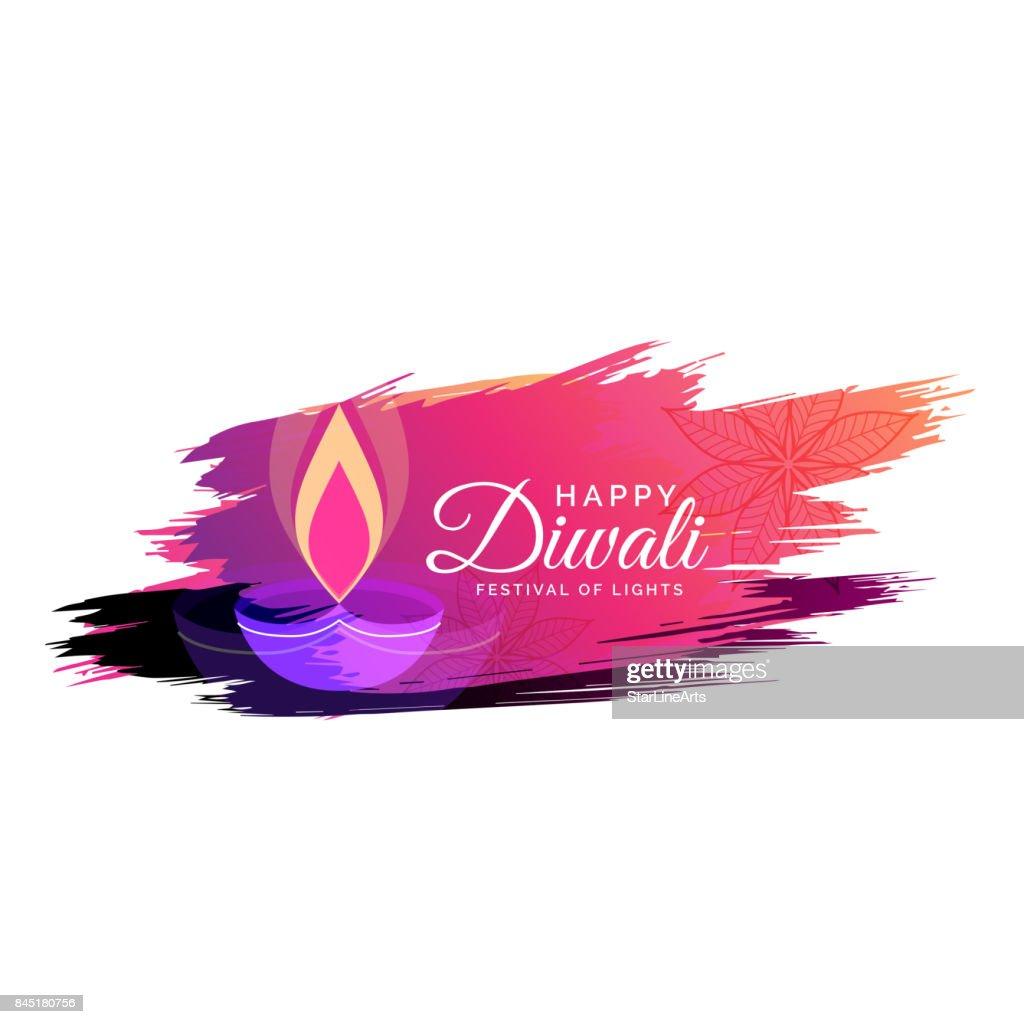 creative watercolor diwali festival greeting card design with diya illustration