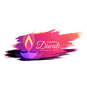 creative watercolor diwali festival greeting card design with diya illustration