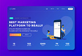 Creative website template landing page designs. Business apps, marketing, social media apps, time and project management.Social media isometry concept with people