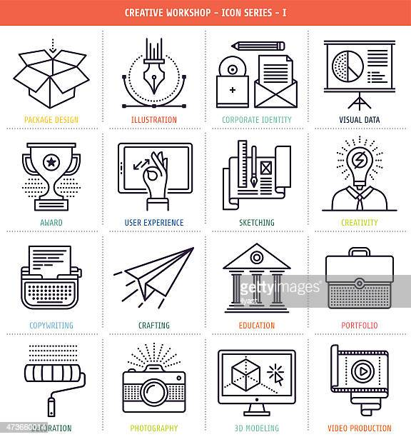 Creative workflow icons in black and white