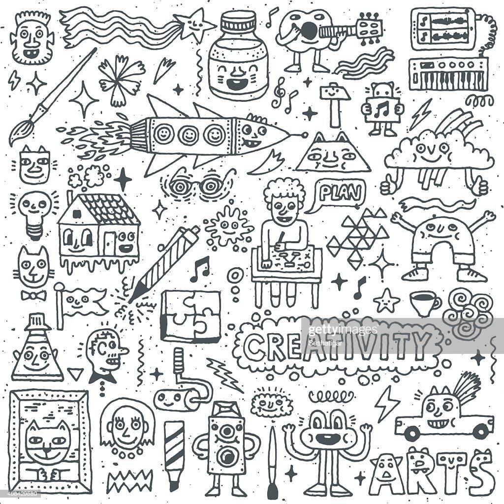 Creativity Activities Funny Doodle Cartoon Set 1. Arts and Crafts.