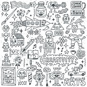 Creativity Activities Funny Doodle Cartoon Set 1. Arts and Crafts.