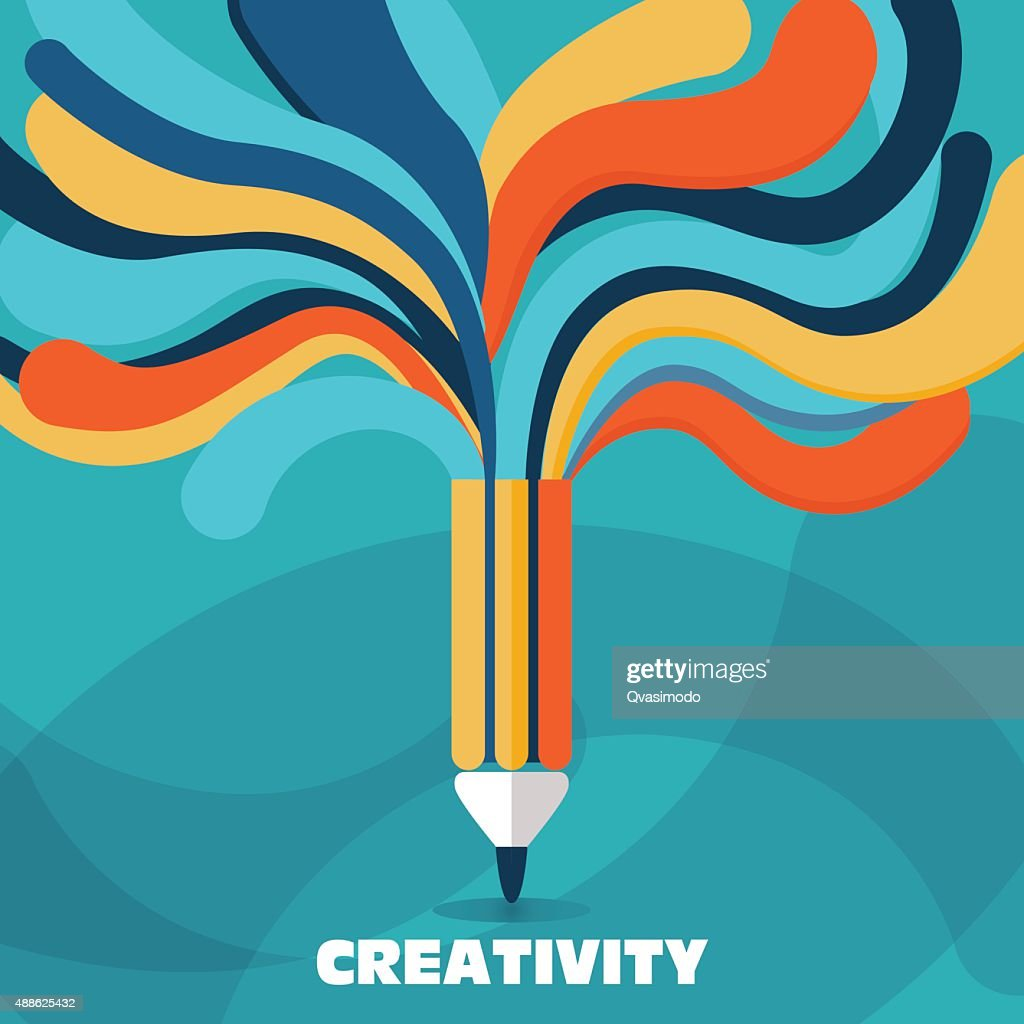 Creativity and idea vector concept. A pencil with colorful lines