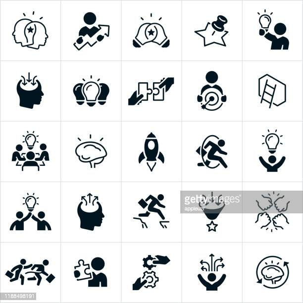 creativity and innovation icons - individuality stock illustrations
