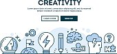 Creativity, concept header, flat design thin line style