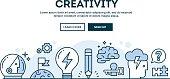 Creativity, concept header, flat design thin line style