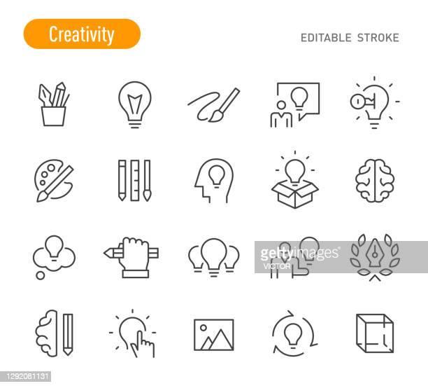 ilustraciones, imágenes clip art, dibujos animados e iconos de stock de iconos de creatividad - serie de líneas - trazo editable - creatividad